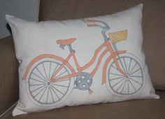 Hand Painted Pillow  Girl Beach Bike...Custom orders Available
