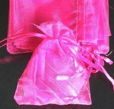 "100pcs Solid Hot Pink Drawstring Organza Flare Wedding Gift Pouch Bag 2.7x3.5"""