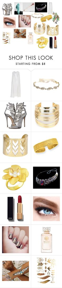 """Kid Icarus: lady Palutena goddess of light"" by gtvon ❤ liked on Polyvore featuring La Mania, Marchesa, Giuseppe Zanotti, WithChic, Kevin Jewelers, Carrera y Carrera, Chanel, Maybelline, Tory Burch and Flash Tattoos"