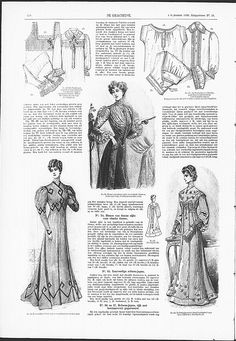 Reformdress with Art Nouveau influences in decoration, right below.   (visit site for bigger picture)   Gracieuse. Geïllustreerde Aglaja, 1905, aflevering 23, pagina 270