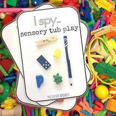 I Spy Sensory Tub Play - how to make your own I Spy Sensory tub for play. Use our FREE I Spy cards to help build maths rich vocabulary during play Kindergarten Sensory, Preschool Learning, Classroom Activities, Learning Activities, Preschool Activities, Dementia Activities, Senior Activities, Preschool Classroom, Family Activities
