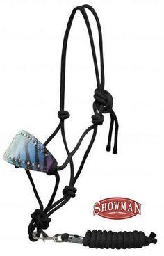 Rainbow zebra cowboy knot bronc halter with removable lead.-Rainbow zebra cowboy knot bronc halter with removable lead.