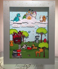 """Lawn Fawn - Into the Woods, Critters Ever After, Critters at the Dog Park, Critters in the 'Burbs, Happy Haunting (house), Sally's ABCs _ super adorable shadowbox scene """"Maya´s Dream"""" by Vanessa via Flickr - Photo Sharing!"""