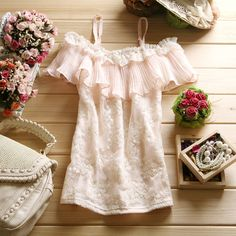 $13.61 2012 summer clothing new Women collar lotus leaf collar embroidered gauze lace strapless short-sleeved shirt shirt-ZZKKO