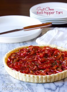 Goat Cheese Red Pepper Tart (thinking about making pre-made tart crust too) Antipasto, Appetizers For Party, Appetizer Recipes, Empanadas, Quiche, Goat Cheese, Sheep Cheese, I Love Food, Holiday Recipes
