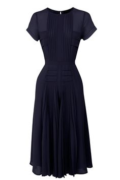 Dresses | Blue Pleated Bodice & Skirt Dress | Warehouse