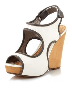 Sam Edelman - Kendall Two-Tone Cutout Wedge, Off White - Last Call