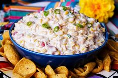 Add this Mexican corn dip to your menu for your next game day snack or fiesta. Add this Mexican corn dip to your menu for your next game day snack or fiesta. It's sweet, spicy, Mexican Corn Dip, Mexican Dishes, Mexican Food Recipes, Milk Recipes, Finger Food Appetizers, Appetizer Dips, Appetizer Recipes, Finger Foods, Corn Dip Recipes