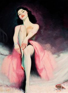 Gorgeous colour palette in this alluring vintage pinup painting. #vintage #pinup #girl #art