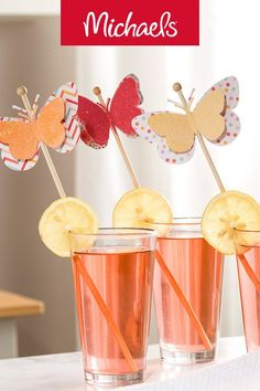 Make this Martha Stewart butterfly drink stirrer project it is a cute DIY paper craft idea for any party. Fun Crafts For Kids, Diy And Crafts, Paper Crafts, Luau, Drink Stirrers, Spring Party, Diy Party, Party Ideas, Diy Ideas