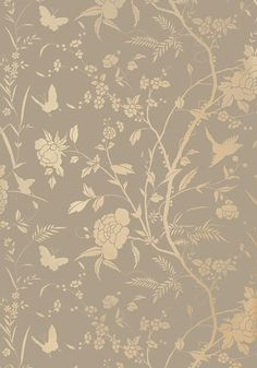 Houses Collection, Beige Gold Wallpapers, Liang Wallpapers, Grey Gold, Thibaut Floral, Metals Gold, Tea Houses, Grey With Metallic Gold, Teas Houses