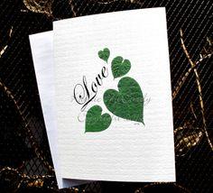 Kathie McCurdy  Pressed Flower Heart Leaves  5x7 Blank by kabloom, $19.25