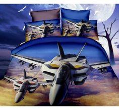 Pościel 3D PREMIUM 160 x 200 cm. Samolot KOD-254-03