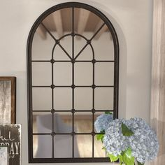 Birch Lane™ Heritage Della Accent Mirror & Reviews | Wayfair Arched Window Mirror, Arch Mirror, Mirror Panels, Metal Mirror, Arched Windows, Round Wall Mirror, Wall Mounted Mirror, Beveled Mirror, Beveled Glass