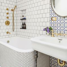 Repost from @foam.and.bubbles  A striking use of gold against white in this #traditional and stylish bathroom #bathroominspo #bathroomideas