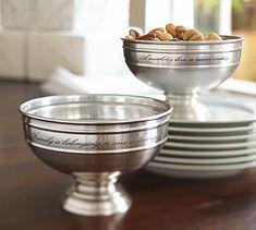 Antique Silver Sentiment Snack Bowl
