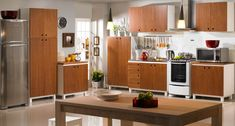 Armários de Cozinha Cheddar - Branco Laqueado e Caramelo - Meu Móvel de Madeira