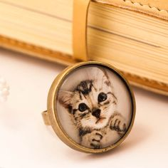 cat ring cat jewelry cat lover gift statement ring dome by dauz, $19.00