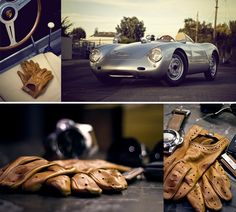 Classic Porsche Spyder. Racing gloves. Leather seats. Thin steering wheel. It just needs a beautiful woman and a picnic basket with wine.
