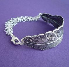 Silver feather bracelet from Crave Jewelry Designs on #Etsy