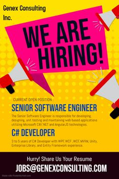 !! We Are Hiring @ Chicago & Omaha Location !!  Below Are Our Current Openings -   1) Software engineer ( C#.Net And AngularJS ) 2) C# Developer  OPT EAD,H4 EAD,GC,GC EAD,Citizen,L2 and J2 visa holders with valid work authorization are encouraged to apply.  *Candidate Must Have Minimum 3-7 Years Of Experience Working In US or With US Based Clients.  #GENEXJOBS #Genex #Consulting #Staffing #C2C #W2 #Job #Omaha #Chicago #Hiring We Are Hiring, Job Opening, Encouragement, Chicago, How To Apply, Positivity, C2c, Engineer, Citizen
