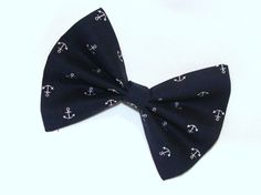 Blue Hair Bow with White Anchors Hair Clip Rockabilly Pin up Teen Woman Vintage Inspired. $8.50, via Etsy.