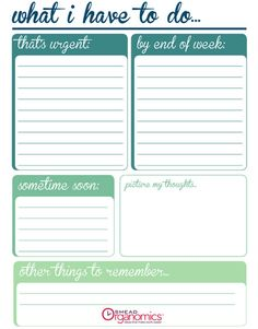 Printable Checklist: To Do Now vs. Later
