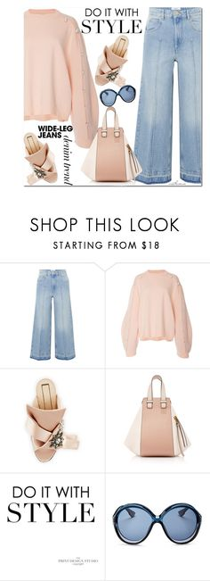 """Pink & Blue"" by arethaman ❤ liked on Polyvore featuring Étoile Isabel Marant, N°21, Loewe, Christian Dior, mules, denimtrend, widelegjeans and embellishedknit"