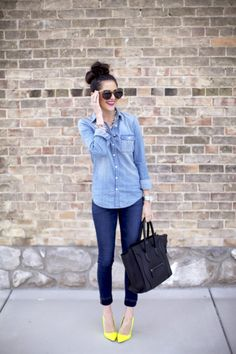 Carpe Denim: The Chambray Shirt  The chambray shirt has now become a must-have piece for your closet, something you can carry around or throw on top of a dress or mini skirt and also the shirt that goes with every bottom you own. The classic piece is a closet essential!