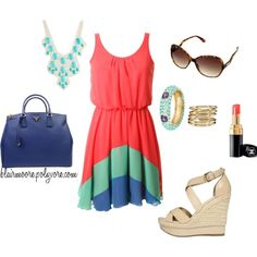 the hottest colors of summer: coral, mint, & cobalt! #outfit
