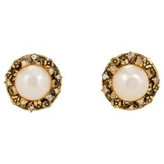 Check out this item at One Kings Lane! Chanel Pearl & Crystal Flower Earrings