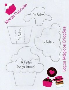 תוצאת תמונה עבור felt cupcake template for quiet book Foam Crafts, Diy And Crafts, Crafts For Kids, Paper Crafts, Felt Templates, Applique Templates, Applique Patterns, Card Templates, Felt Patterns