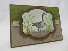 handmade card from Stamping Moments ... wide mat frame ... Canadian Goose and grasses ... Wetlands ... Stampin' Up!