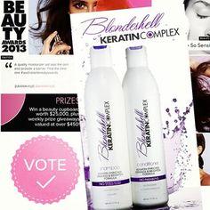 #Vote for @KeratinComplex Blondeshell Shampoo & Conditioner in the #AustralianBeautyAwards. Nominated for 'Best Shampoo & Conditioner - Prestige'. Visit www.beautyawards.com.au to vote! #keratincomplex #blondeshell #awards #bestshampoo