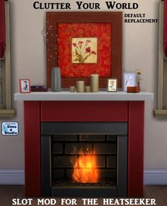 The Sims 4 | orangemittens Clutter Your World - Heatseeker with 39 slots by OM | build mode fireplace override