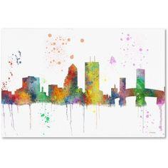 Trademark Fine Art Jacksonville Florida Skyline Mclr-1 inch Canvas Art by Marlene Watson, Size: 30 x 47, Multicolor