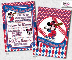 Mickey Mouse Baseball Invitations by MetroEvents on Etsy, $8.98
