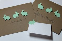 Baby Shower Package  Bunny Invitations Place Cards by RoyalRegards