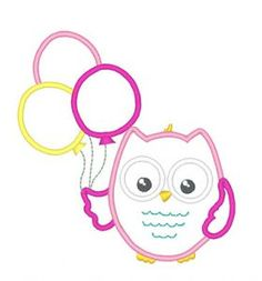 Designs :: Occasions :: Birthday :: Birthday Balloons Owl
