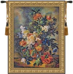 Woven in Belgium History: This Belgian jacquard wall tapestry, Bouquet Dore, represents an oil painting from Jan van Huysum (1682-1749). He was born in Amsterda