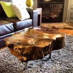 tree trunk table with metal legs, wood coffee table with hairpin