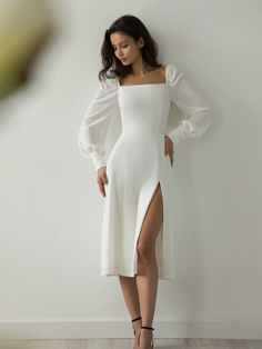 Classy Dress, Classy Outfits, Classy Casual, Casual Dresses, Fashion Dresses, Formal Dresses, Simple Dresses, Elegant Midi Dresses, Formal Midi Dress