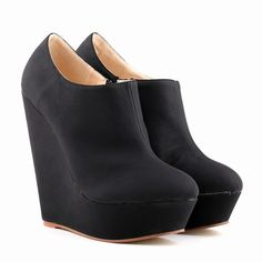 US Szie 4.5-10 Women elegent platform high heels velvet shoes ankle boots wedges Botas Femininas 391-5