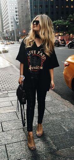 sequin legging. printed long tee. street style. summer look.