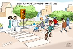 Imagine a city that is quiet, with only the noise of children playing and the sound of birds, no traffic, a lot of trees, and running tracks. That's what the city of Barcelona is planning to experiment with this year: The post Cartoon of the Week: Barcelona to open a low-emissions zone appeared first on eXo Platform Blog.