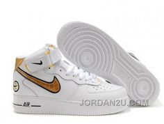 reputable site 54e1d f439e Buy Nike Air Force 1 Mid Womens Sneakers White Black Gold Super Deals from  Reliable Nike Air Force 1 Mid Womens Sneakers White Black Gold Super Deals  ...