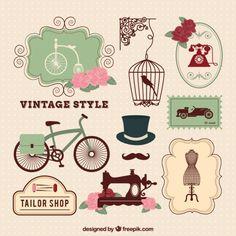 Elementos de estilo vintage Vetor grátis
