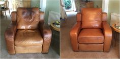 The darkening of leather is often caused by the contamination oil. We have products available online that will allow you to remove the oil and restore the colour. However, if the damage is too severe, it is likely you will need to have the leather replaced. (Like the armchair, below )  Our NE branch has done a fantastic job, don't you think? Find your nearest repair branch on our website.