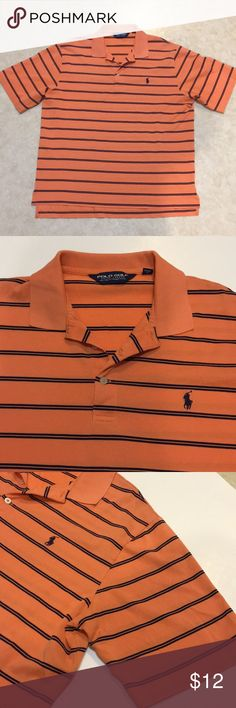 Men's Ralph Lauren Polo Ralph Lauren Polo Golf cotton shirt.  Orange with navy stripes.  One small hole in the front at the bottom. See last pic. 1/2/18 Ralph Lauren Shirts Polos