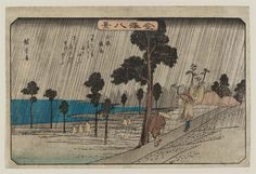 Night Rain at Koizumi (Koizumi yau), from the series Eight Views of Kanazawa (Kanazawa hakkei) 「金沢八景 小泉夜雨」 Japanese Edo period about 1835–39 (Tenpô 6–10) Artist Utagawa Hiroshige I (Japanese, 1797–1858)